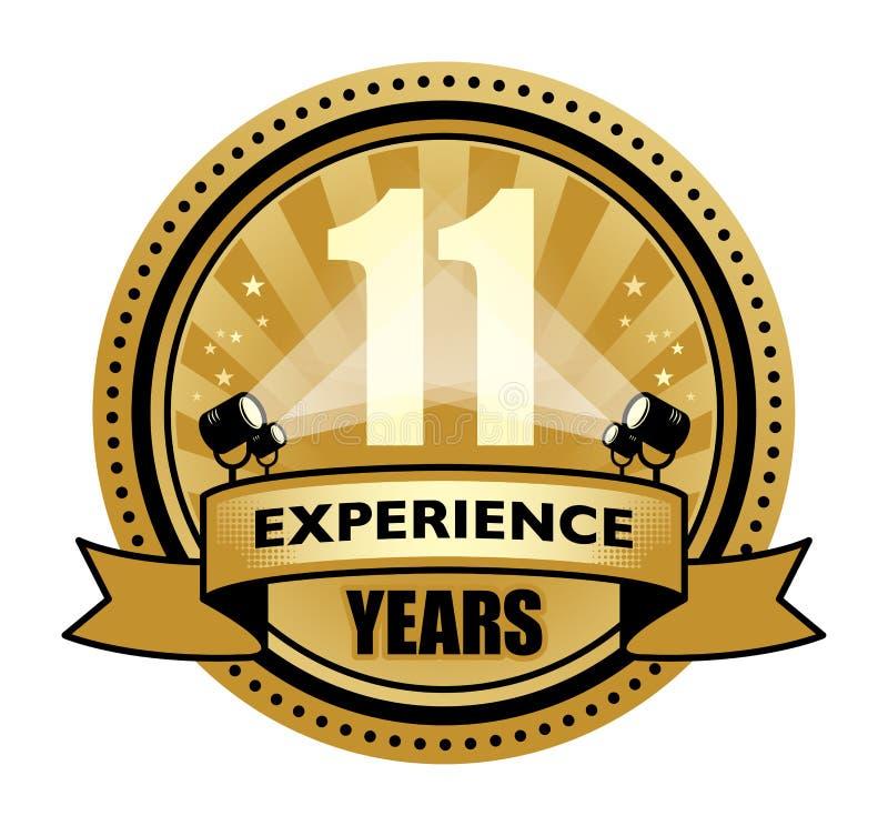 Märk med texten 11 år skriftlig insida för erfarenhet vektor illustrationer