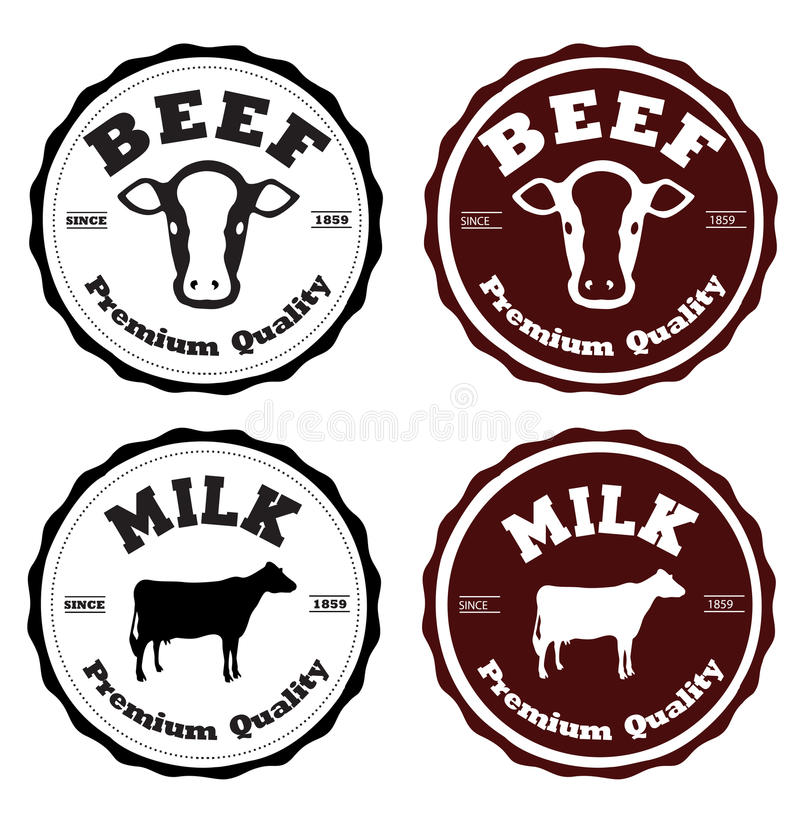 Märk nötkött och mjölka stock illustrationer