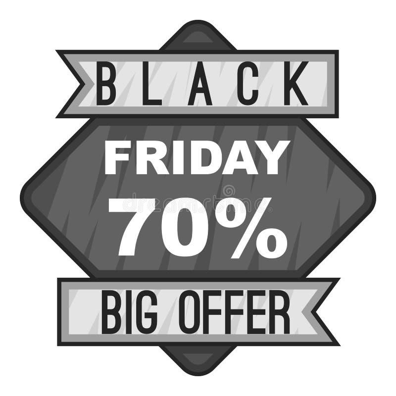 Märk svarta fredag sjuttio procent den stora erbjudandesymbolen stock illustrationer