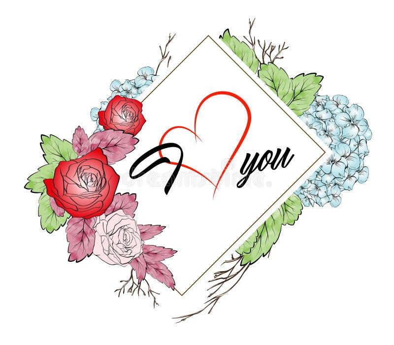Märka älskar jag dig och buketten av blommor vektor illustrationer