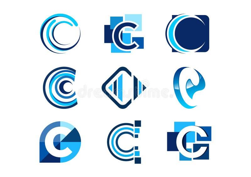 Märka c-logoen, för beståndsdelföretaget för begreppet abstrakta logoer, uppsättning av den abstrakta designen för vektorn för sy royaltyfri illustrationer