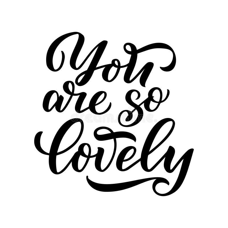Märka citationstecken om förälskelse Hand dragen typografiaffisch För hälsningkort, valentindag, bröllop, affischer, tryck eller  royaltyfri illustrationer
