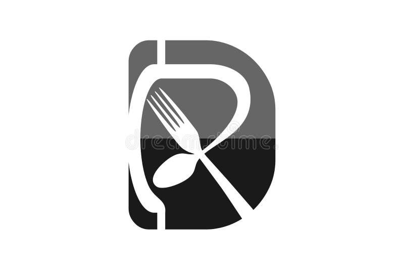 Märka D R, skeda och dela sig, restaurangen Logo Designs Inspiration Isolated på vit bakgrund royaltyfri illustrationer