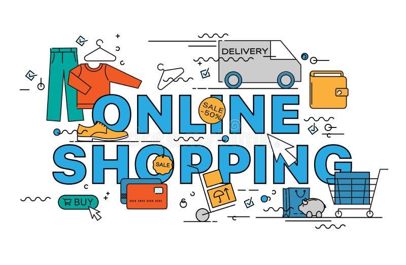 Märka den plana linjen designbegrepp av online-shopping royaltyfri illustrationer