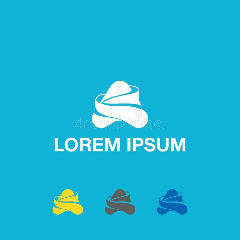 Märka en Logo Template Abstrakta blått sänker logoen som presenterar den övre pilen stock illustrationer
