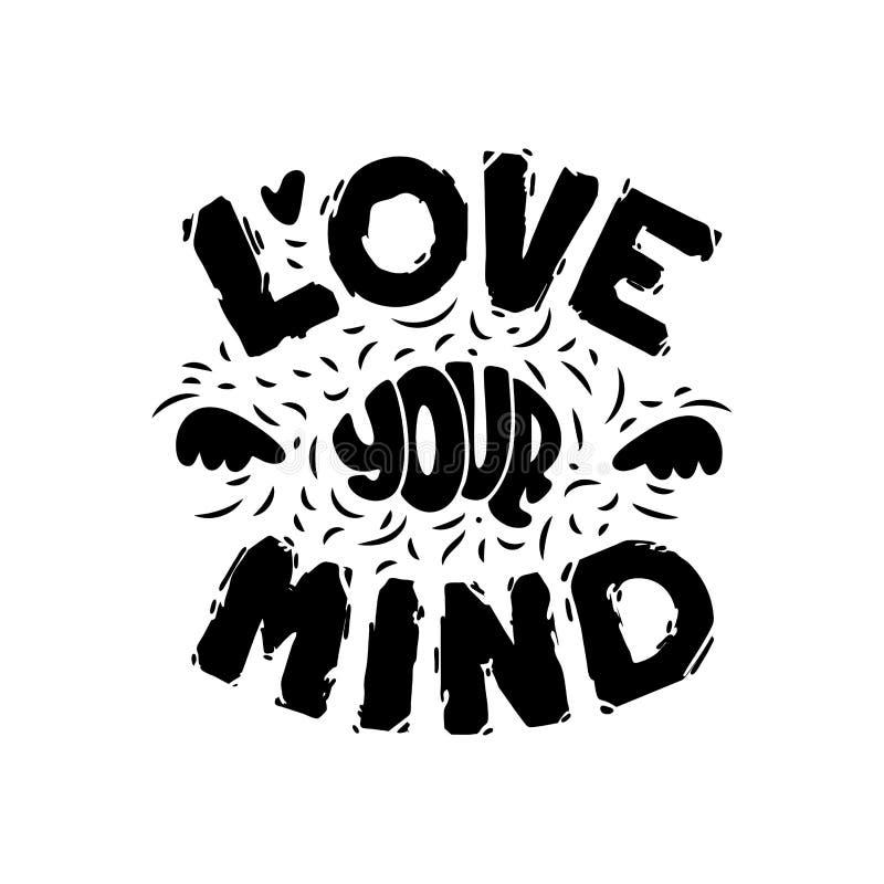Märka förälskelse din mening Hand dragen konst sund hj?rna ocks? vektor f?r coreldrawillustration stock illustrationer