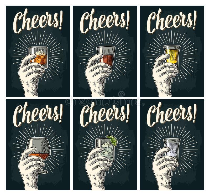 Märka för jubel Räcka hållen glass konjak, tequilaen, gin, rom, whisky vektor illustrationer