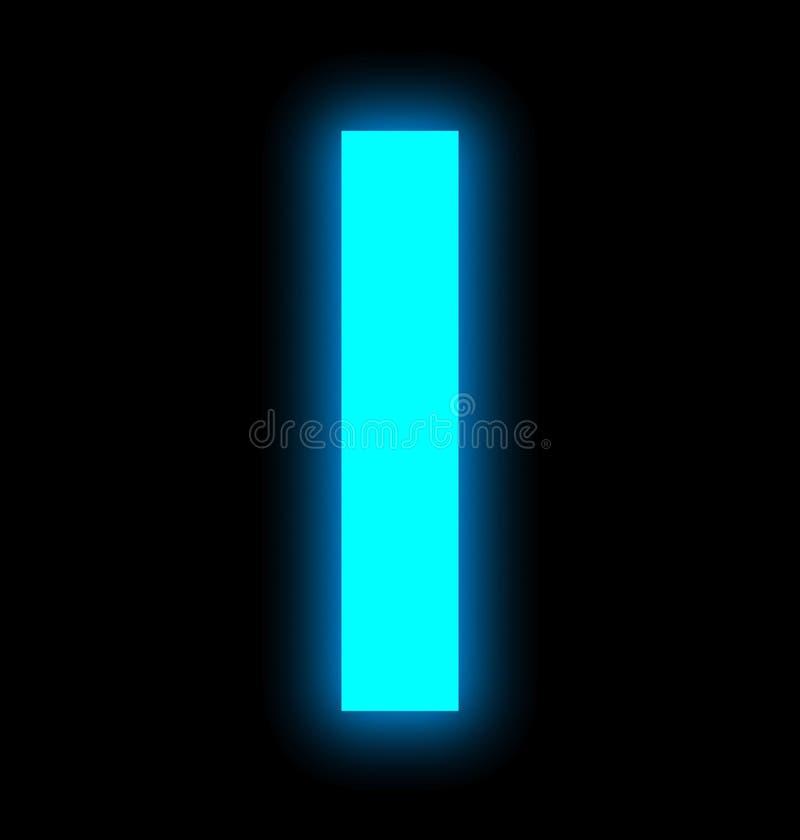 Märka I-neonljus som isoleras mycket på svart stock illustrationer