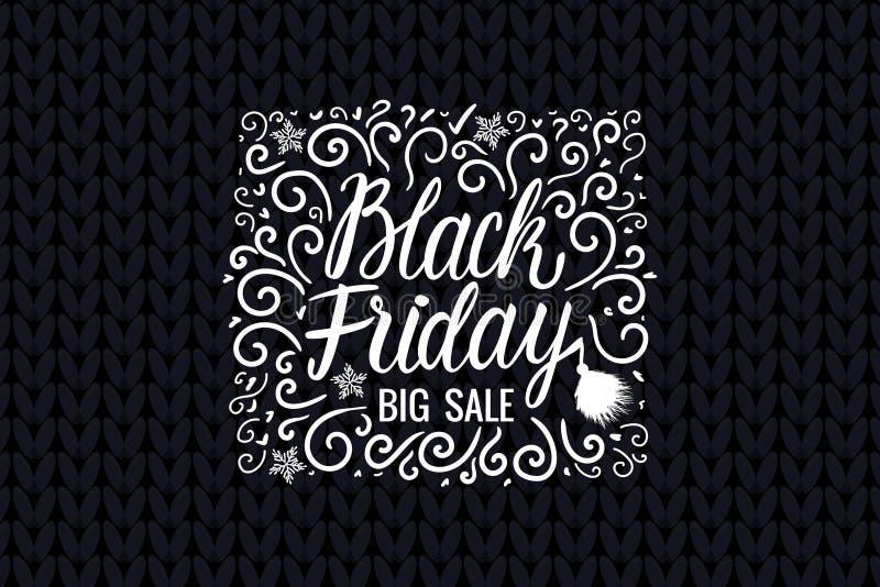 Märka inskriftkortvektorn Black Friday Utdragen vit illustration för stor Sale hand på stucken mörk bred bakgrund för textur royaltyfri illustrationer