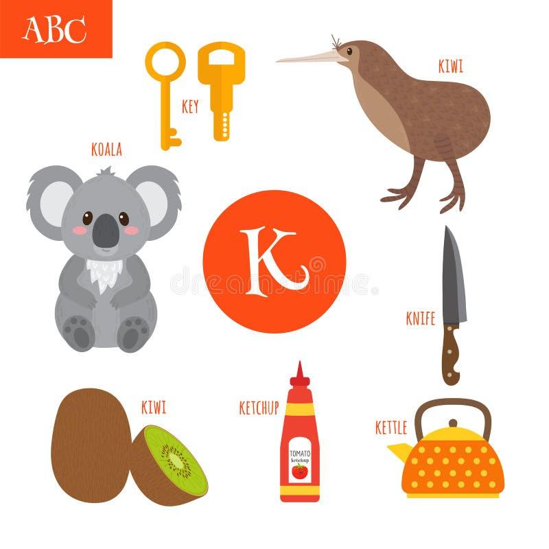 Märka K Tecknad filmalfabet för barn Koala tangent, kokkärl, ket royaltyfri illustrationer