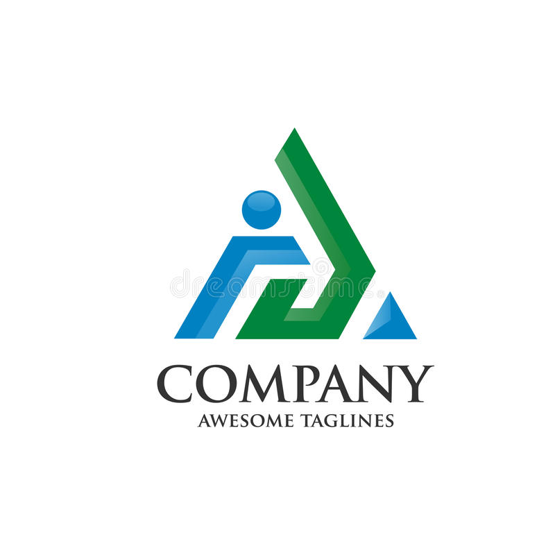 Märka a-logoen med för stillogoen för pilen 3d vektorn royaltyfri illustrationer