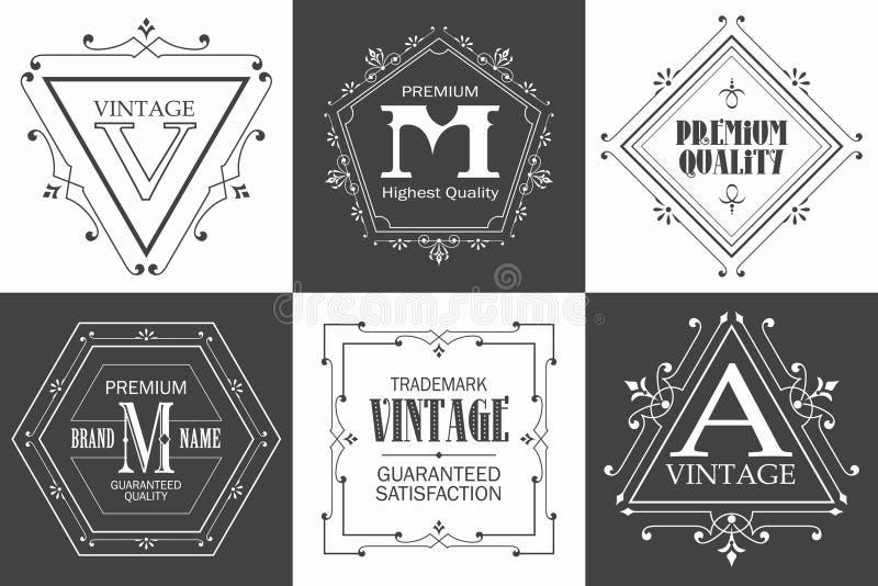 Märka logomallen med calligraphic elegant orna för krusidullar royaltyfri illustrationer