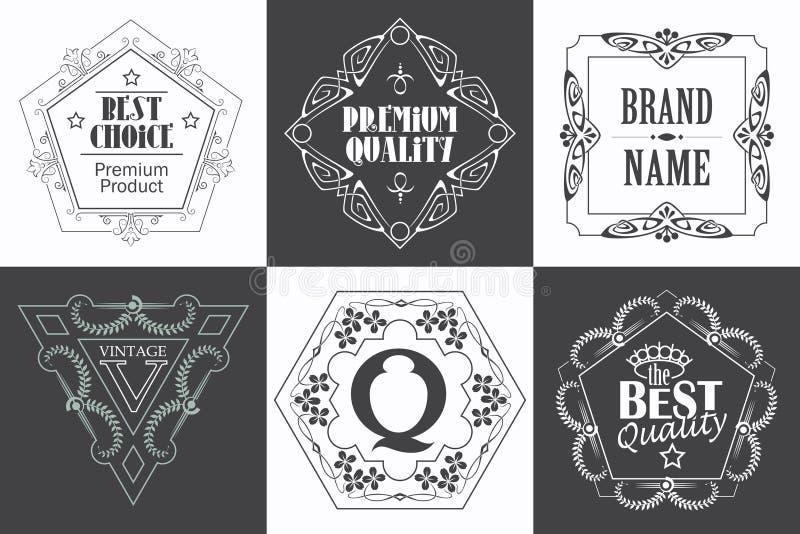 Märka logomallen med calligraphic eleganta prydnadbeståndsdelar för krusidullar vektor illustrationer