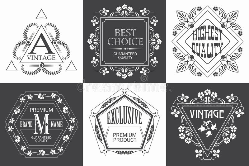 Märka logomallen med calligraphic eleganta prydnadbeståndsdelar för krusidullar stock illustrationer