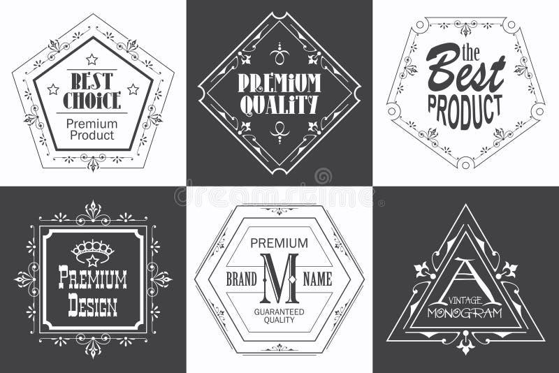Märka logomallen med calligraphic eleganta prydnader för krusidullar vektor illustrationer
