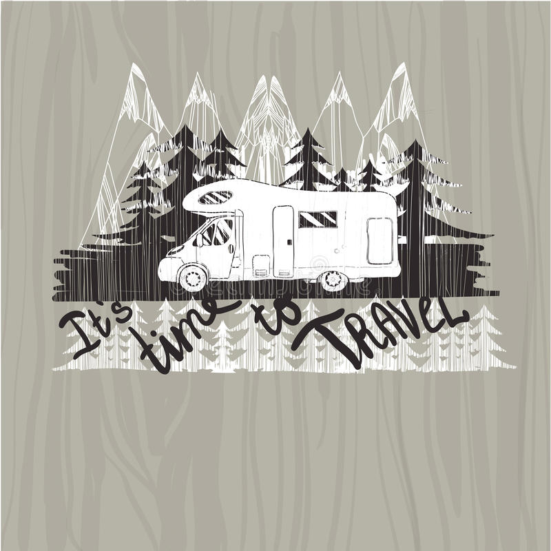 Märka loppet som är typografisk, lägerkalligrafi, konturtrai stock illustrationer