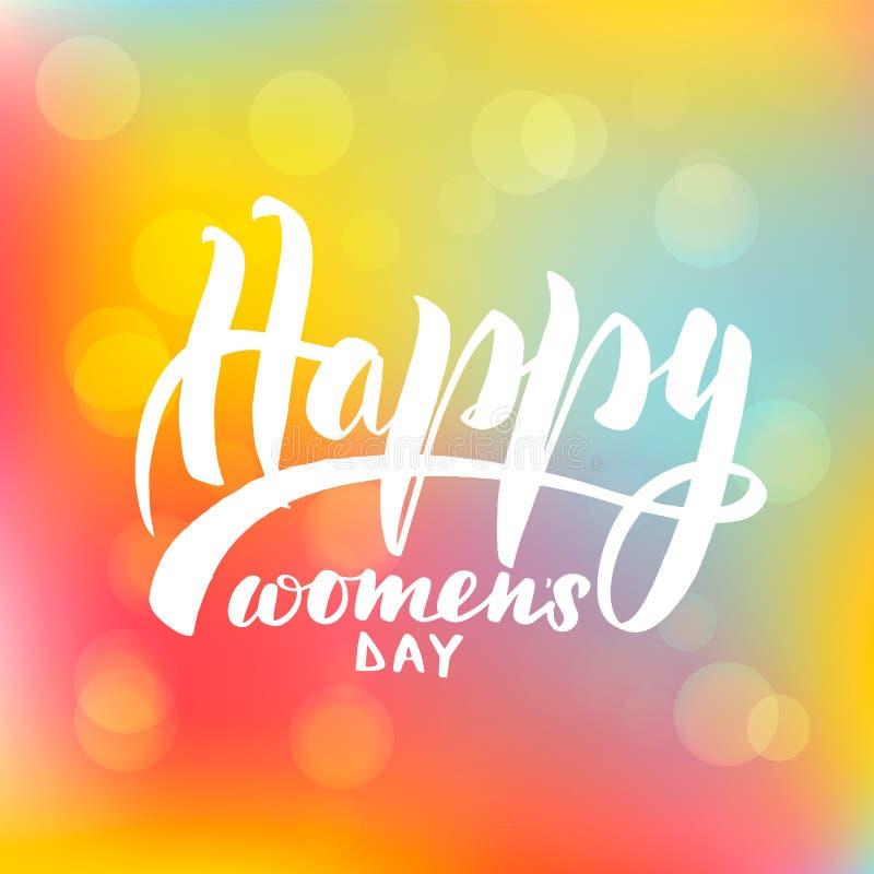Märka lyckliga kvinnors för inskrift dag royaltyfri illustrationer