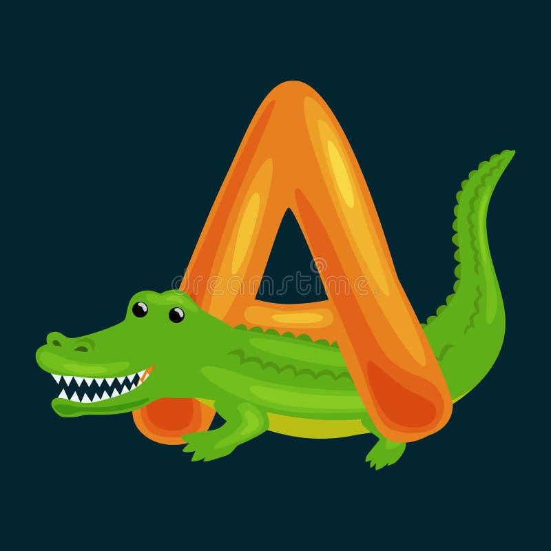 Märka A med alligatordjuret för ungeabc-utbildning i förträning vektor illustrationer