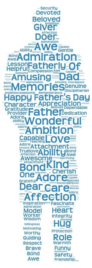 Märka molnet av faderns dag i formen av ett faderligt diagram royaltyfri fotografi