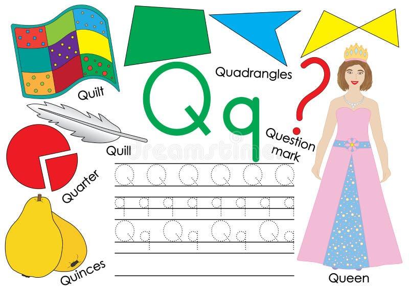 Märka Q Lära engelskt alfabet Skriva övning av huvud- och små bokstäver också vektor för coreldrawillustration royaltyfri illustrationer
