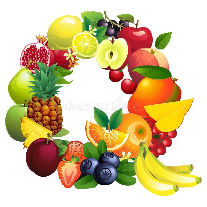 Märka Q som komponeras av olika frukter med sidor stock illustrationer