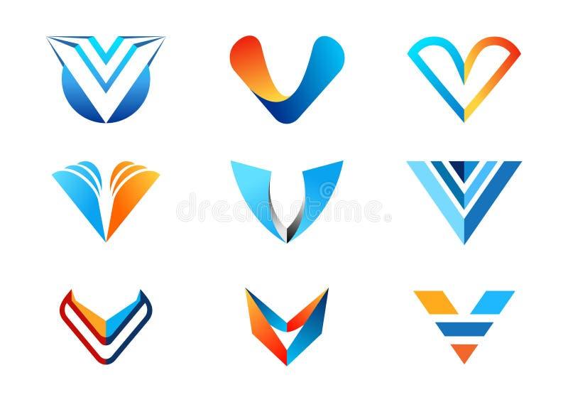 Märka v-logoen, abstrakta logoer för beståndsdelbegreppsföretaget, samlingsuppsättning av för affärslogoen för bokstäver V blå or vektor illustrationer