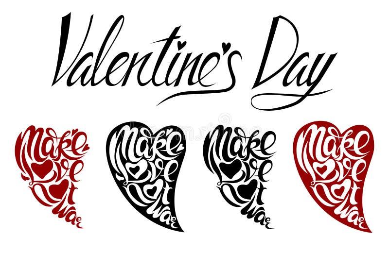 Märka valentin dag i form av hjärtor stock illustrationer