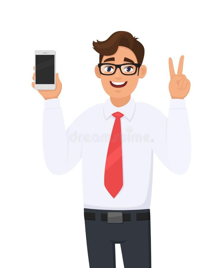 Märke för visning för affärsman nytt, senast smartphone Maninnehavcell, mobiltelefon i hand och göra en gest/som gör seger, V, fr vektor illustrationer
