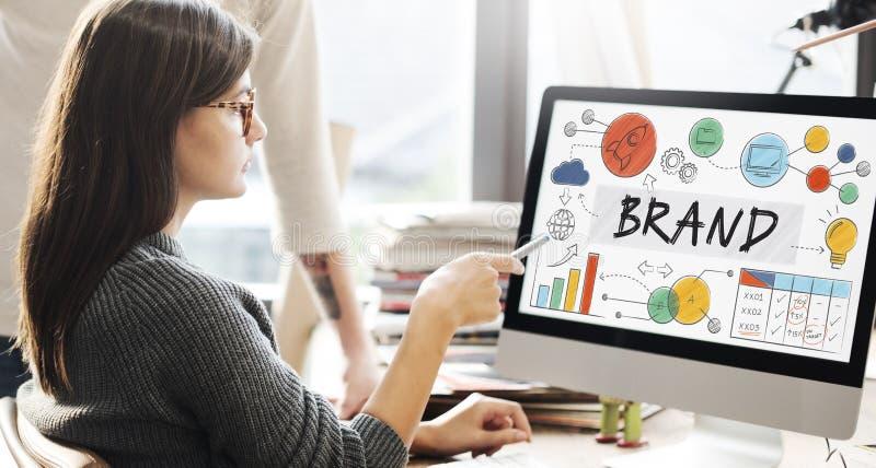 Märke som brännmärker begrepp för advertizingvarumärkesmarknadsföring arkivbild