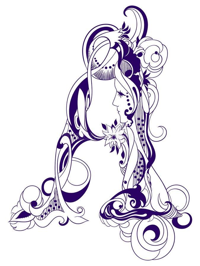 Märker dekorativa initialer för tappning A stock illustrationer