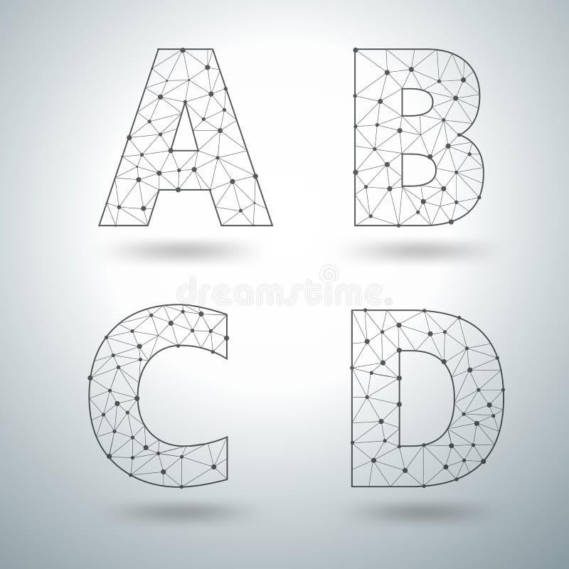 Märker det stilfulla alfabetet för vektoringreppet A B C D royaltyfri illustrationer