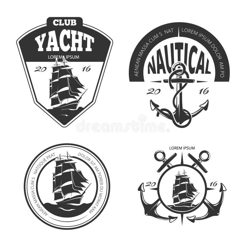 Märker förser med märke den nautiska vektorlogoen för tappning, och stock illustrationer