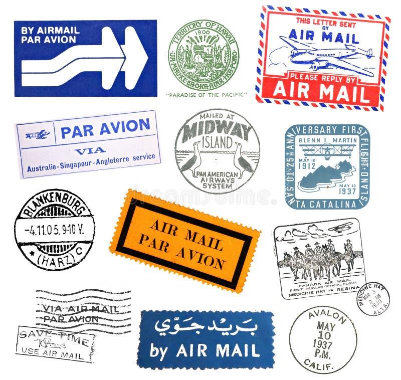märker flygpost stämpeltappning stock illustrationer