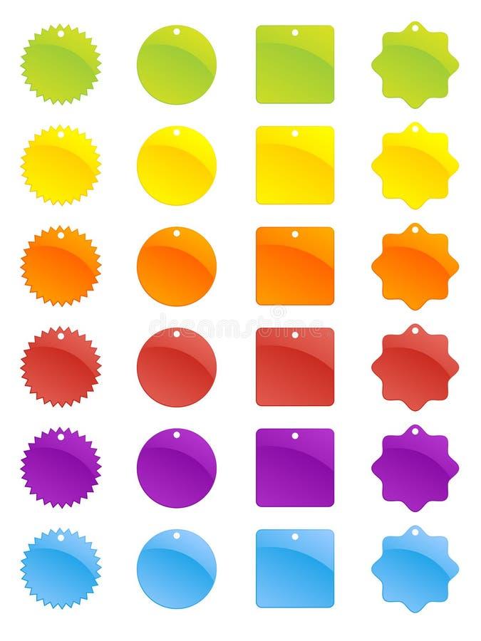 märker prislappar vektor illustrationer