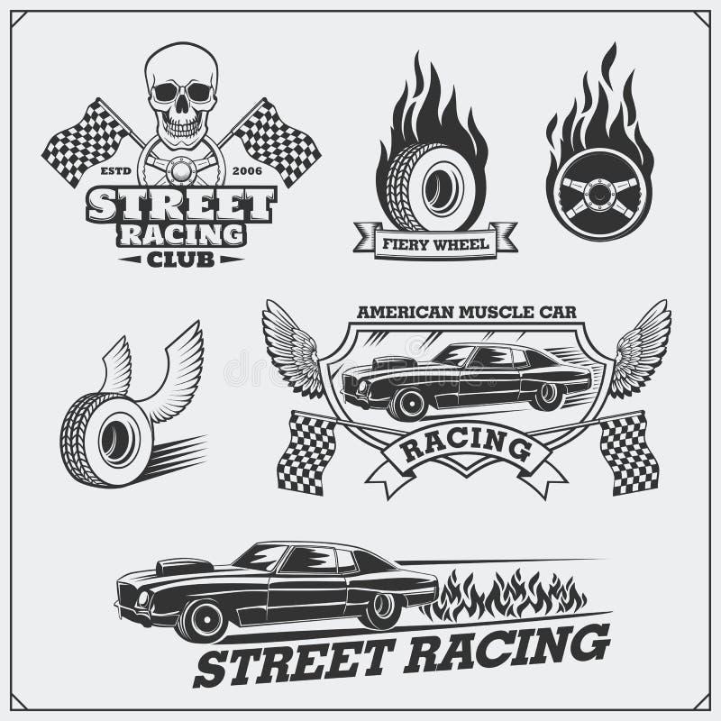 Märker tävlings- emblem för gata, emblem och designbeståndsdelar tappning för stil för illustrationlilja röd vektor illustrationer