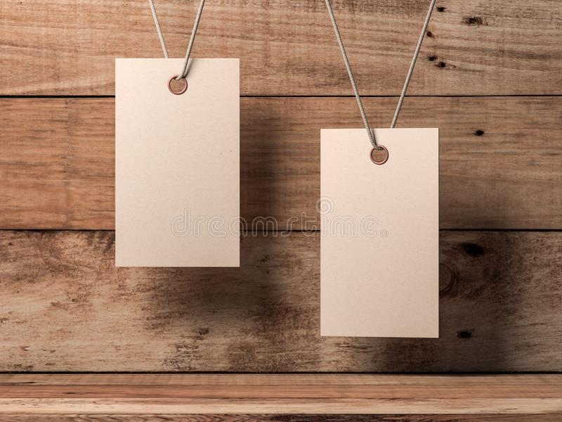 Märker tomt kraft papper för två etikettmodellen som binds på rep nära träväggen stock illustrationer