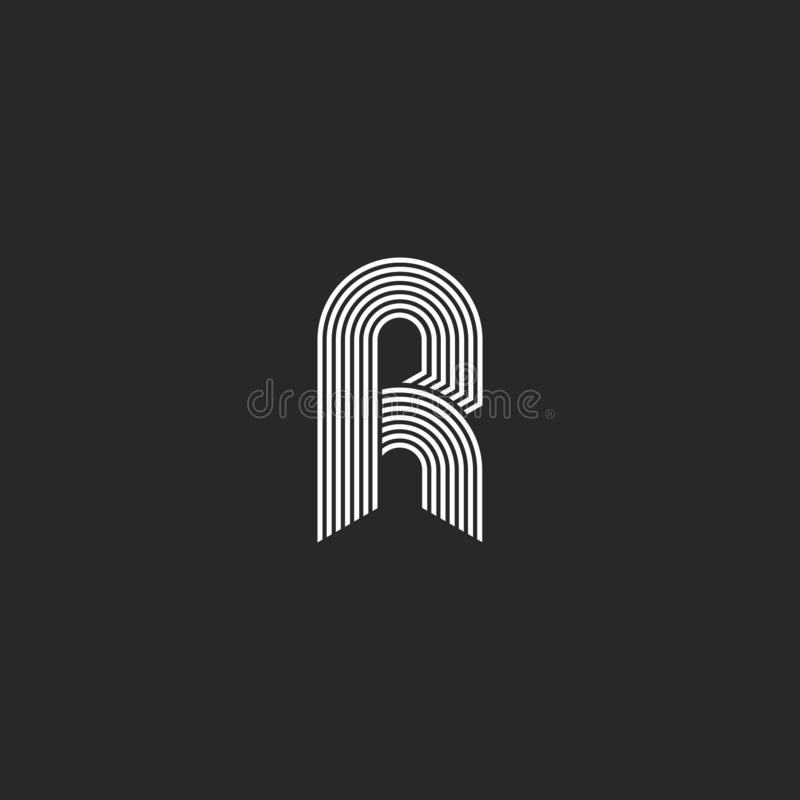 Märker vit bokstav r för hipsteren linjärt eller symbolen på svart bakgrund Linjär logo för vektorinitialsymbol Elegant linje kur vektor illustrationer