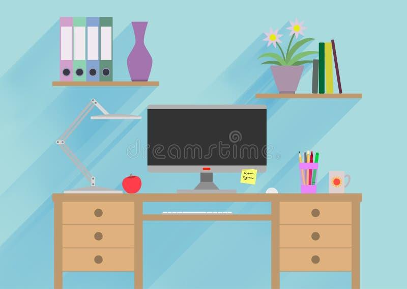 Märkes- arbetsplats- eller studeraillustration Banerillustration Plana designillustrationbegrepp för att arbeta stock illustrationer