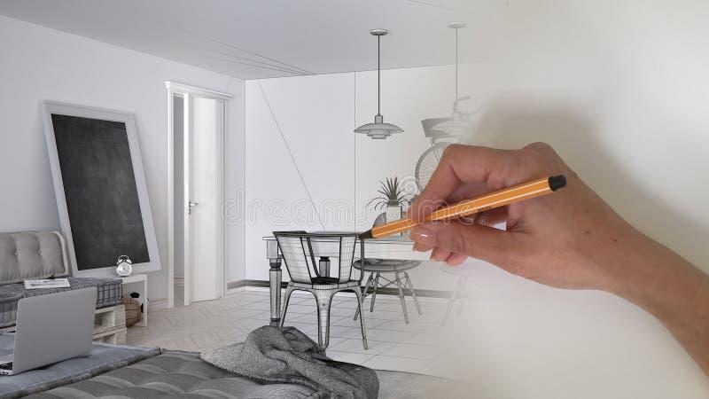 Märkes- begrepp för arkitektinre: hand som drar ett inre projekt för design, medan utrymmet blir verklig vit modern vardagsrum fotografering för bildbyråer