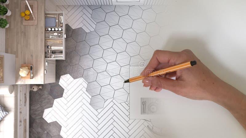 Märkes- begrepp för arkitektinre: hand som drar ett inre projekt för design, medan utrymmet blir verklig vit scandinavian kitch arkivbilder