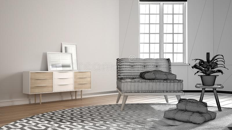 Märkes- begrepp för arkitektinre: oavslutat projekt som blir verklig scandinavian minimalist vardagsrum med den stora rundan vektor illustrationer