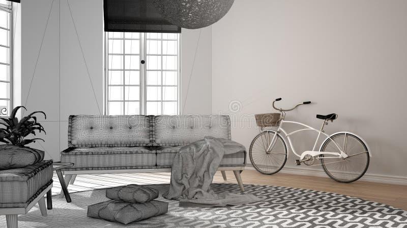 Märkes- begrepp för arkitektinre: oavslutat projekt, som blir verklig scandinavian minimalist vardagsrum med stora fönster, arkivfoto