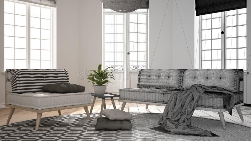 Märkes- begrepp för arkitektinre: oavslutat projekt, som blir verklig scandinavian minimalist vardagsrum med stora fönster, royaltyfria foton