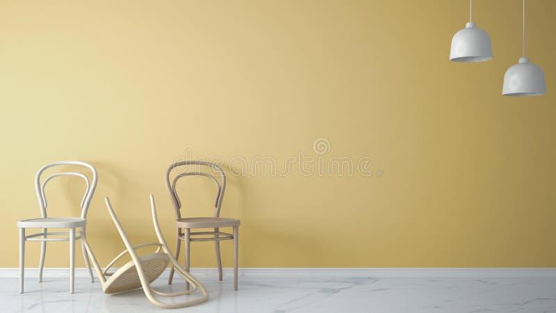 Märkes- begrepp för Minimalist arkitekt med tre klassiska trästolar, en stol som över vänds på gul bakgrund, och marmorfloo stock illustrationer