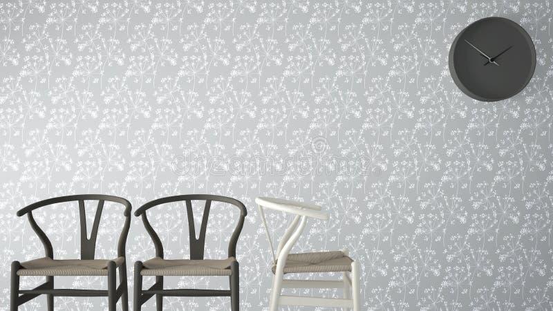 Märkes- begrepp för Minimalist arkitekt, väntande vardagsrum med klassiska trästolar och väggklocka på den gråa blom- tapeten til royaltyfria bilder