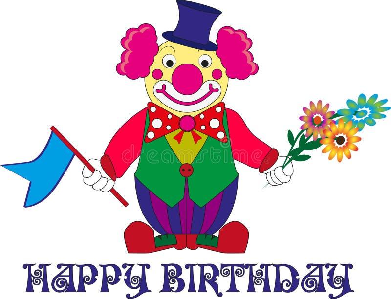 Märkes- beslut för ` s för ett födelsedagparti, clown med blommor stock illustrationer