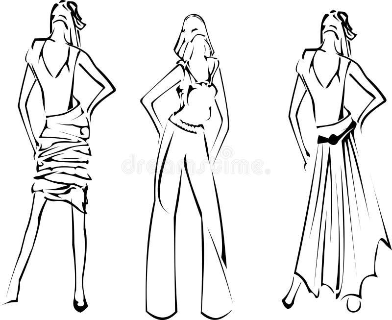 märkes- modeflickor skissar vektor illustrationer