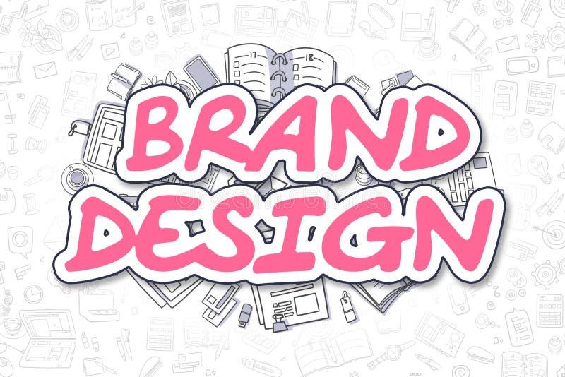 Märkesdesign - magentafärgat ord för klotter äganderätt för home tangent för affärsidé som guld- ner skyen till stock illustrationer