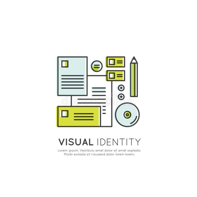 Märkesdesign, Visuellt hjälpmedel Identitet, Företag Merch uppsättning royaltyfri illustrationer