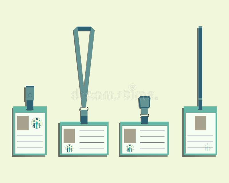 Märkesidentitetsbeståndsdelar - taljerep, känd etikettshållare stock illustrationer